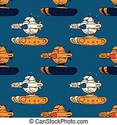 Angry robot tank seamless pattern