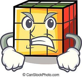 Angry rubik cube mascot cartoon