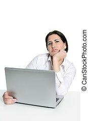 Angry sad bored woman laptop computer