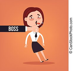 Angry sad boss hold his bad employee woman character neck. Vector flat cartoon illustration