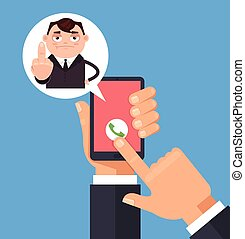 Angry sad manager men office worker character call and showing middle finger. Vector flat cartoon illustration