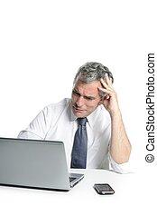 angry sad senior gray hair businessman laptop