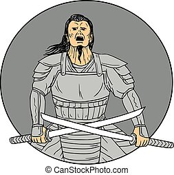 Angry Samurai Warrior Crossing Swords Oval Drawing