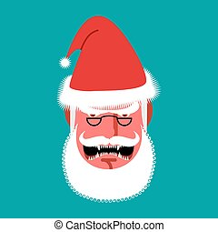 Angry Santa Claus. Red with anger people. grumpy shouts