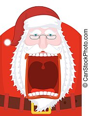 Angry Santa Claus shouts. Scary grandfather yelling. Crazy...