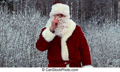 Angry Santa Clause with birch
