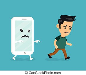 Angry scary smartphone run for young man.