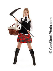 angry schoolgirl with black scythe over white