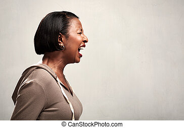Angry screaming african american woman - Fury irate crying...