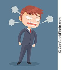Angry screaming office worker man character. Vector flat cartoon illustration