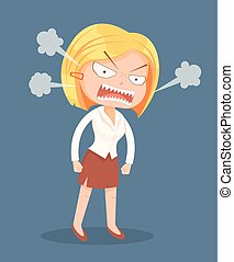 Angry screaming office worker woman character. Vector flat cartoon illustration