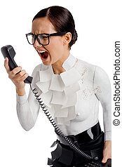 Photo of angry female holding phone receiver and shouting into it