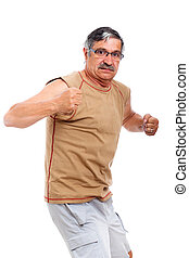 Angry senior man fighter