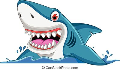 angry shark cartoon - vector illustration of angry shark...