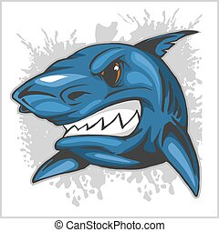 angry shark head on grunge background - vector