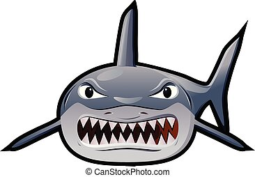 Angry shark in line art vector
