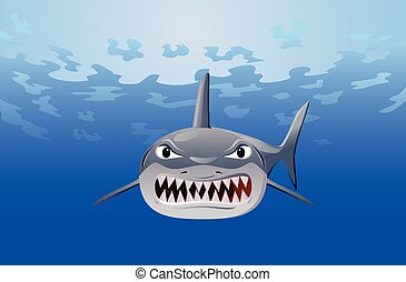 Angry shark under the sea vector