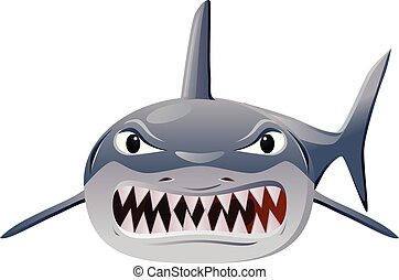 Angry shark vector icon