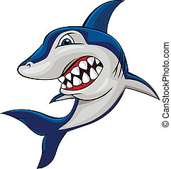 Vector illustration of angry shark