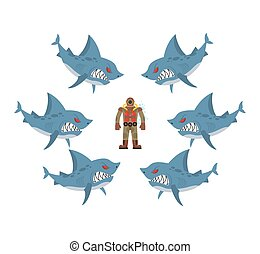 Angry sharks surrounded man in old diving suit. Fear,...