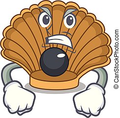 Angry shell with pearl mascot cartoon