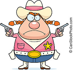 Angry Sheriff - A cartoon sheriff with an angry expression.