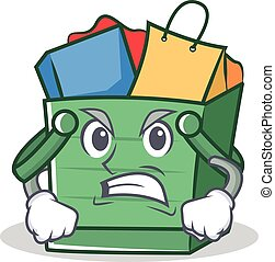 Angry shopping basket character cartoon
