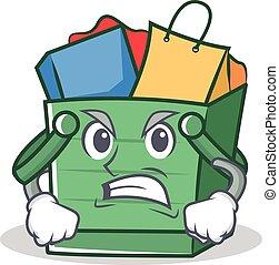 Angry shopping basket character cartoon