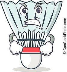 Angry shuttlecock character cartoon vector art illustration