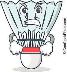 Angry shuttlecock character cartoon vector