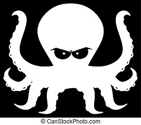 Angry Silhouettes Of Octopus Cartoon Mascot Character