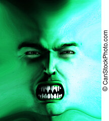 Angry Skin Face - Concept image about anger and furious rage...