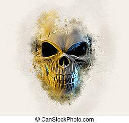 Angry skull - Grunge style type illustration