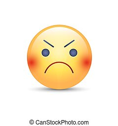 Angry smiley emoji face. Annoyed cute cartoon vector emoticon.