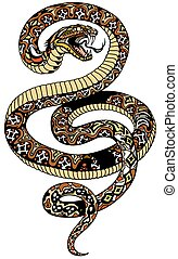 angry snake tattoo - angry snake. Attacking coiled serpent. ...