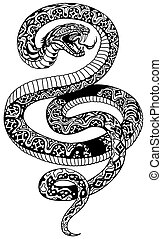 Angry snake tattoo black and white