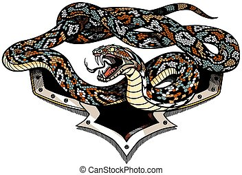 Angry snake with an open mouth