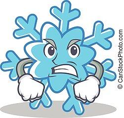 Angry snowflake character cartoon style