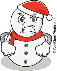 Angry snowman character cartoon style