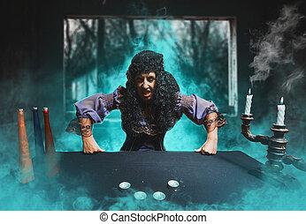 Angry sorceress looks at camera