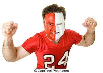 Angry Sports Fanatic - Angry sports fan with a painted face,...