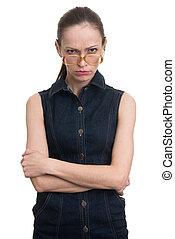 Angry strange nerd girl isolated on white background