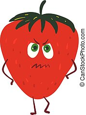 Angry strawberry , vector or color illustration