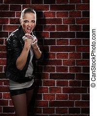 Angry street girl fighting