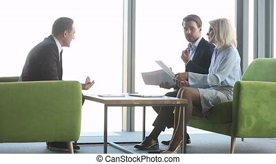 Angry stressed business people complain on bad contract at meeting