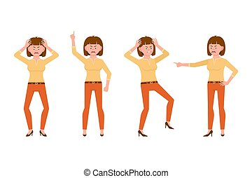 Angry, stressed, desperate brown hair young woman in orange pants vector illustration. Shouting, pointing finger, screaming girl cartoon character set