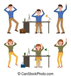 Angry, stressed, desperate, mad office man and woman vector illustration. Shouting, pointing finger, talking on phone boy and girl cartoon character set