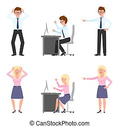 Angry, stressed, desperate office boy and girl vector illustration. Shouting, pointing finger, screaming, sitting at desk male and female cartoon character set