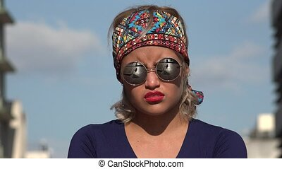 Angry Stubborn Woman With Sunglasses
