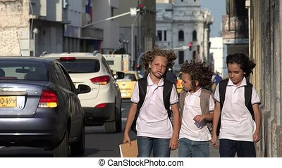 Angry Student Walking On Windy Urban Sidewalk